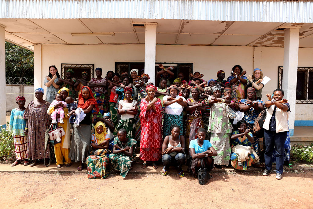 "After meeting with SRSG BAngura, women's group in Paoua, CAR, join her to ""stop rape in war."" (Paoua, CAR)"